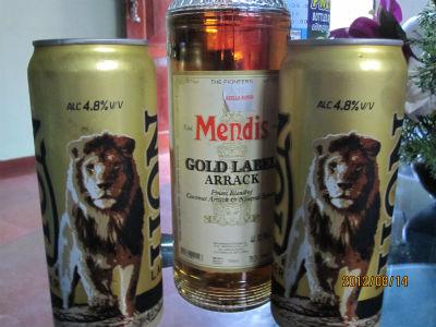 ライオンビールとアラック(ココナッツのお酒?)